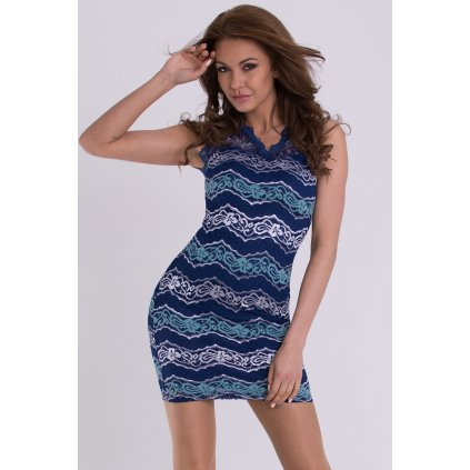Pruhované šaty EMAMODA s krajkou13002-2