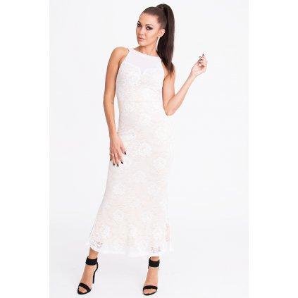 Společenské šaty krajkové dlouhé plesové šaty bez rukávů