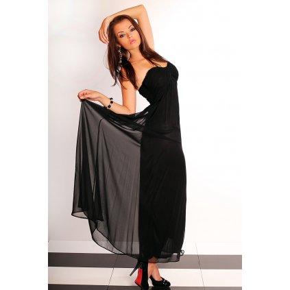 Dlouhé tylové šaty bez ramínek - černé
