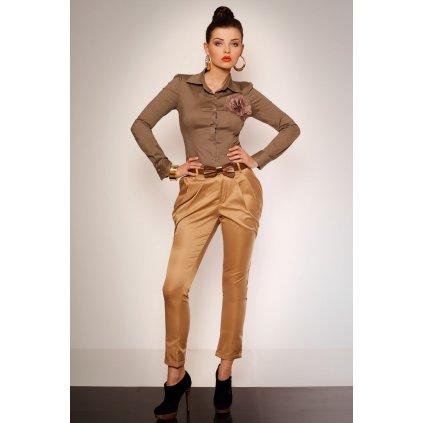 2623-1 Elegantní kalhoty s vlněním a kapsami + opasek