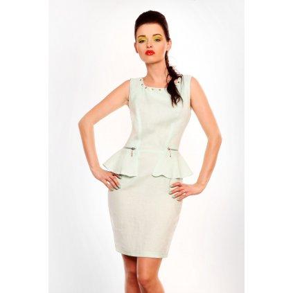 Lněné šaty 3604-2 s vestou na zip - mátový sorbet