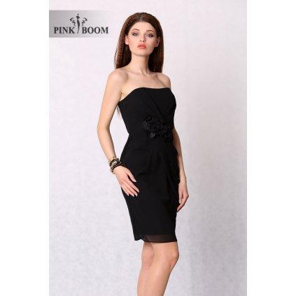 Koktejlové černé mini šaty bez rukávů s růží