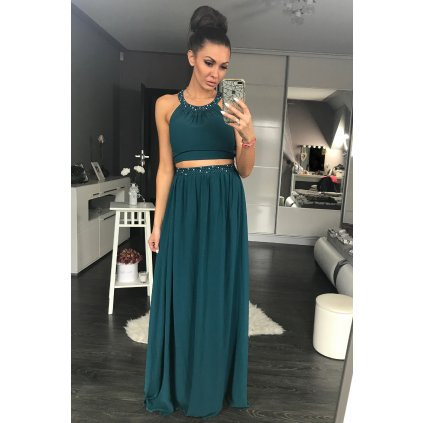 Plesové šaty dlouhé top + dlouhá sukně společenské šaty