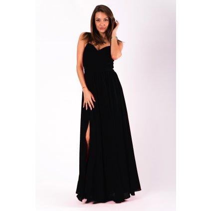 Společenské dámské šaty na ramínka s výstřihem do V a rozparkem na noze