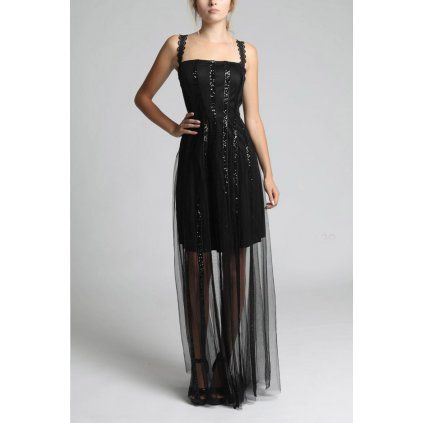 Černé dlouhé šaty tylové s krajkovými ramínky a flitry