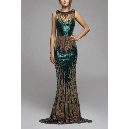 Maxi flitrové šaty plesové třpytivé šaty s odhalenými rameny