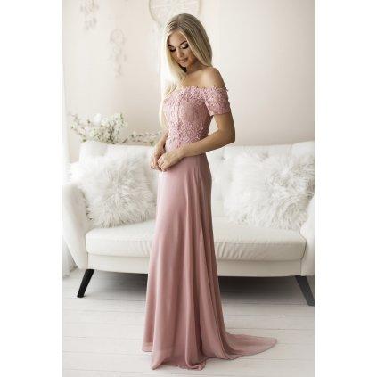 Společenské šaty svatební s krajkovým topem a odhalenými rameny