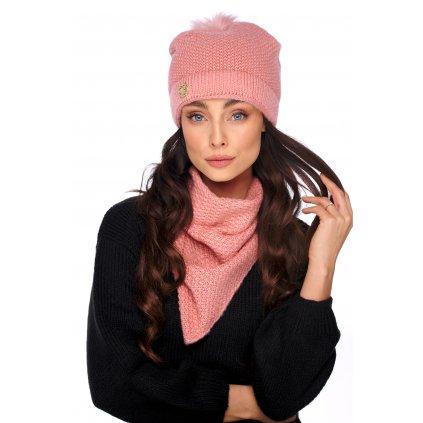 Pletená sada čepice s chlupatou bambuli a šátek