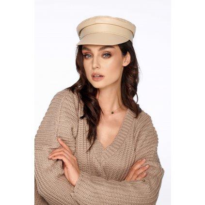 Stylová dámská kšiltovka kožená čepice s kšiltem