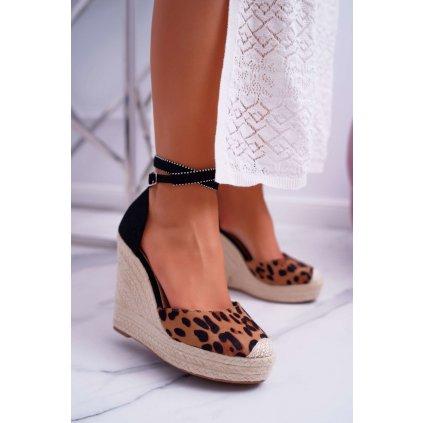 Dámské Sandály Na Klinu Leopard Canterola