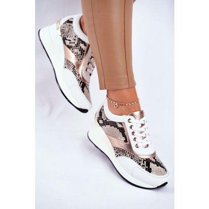 Kožené Klínové Sportovní Obuv Sneakers GOE GG2N3045 Bilé