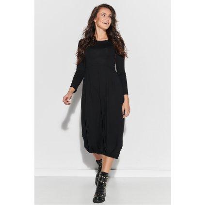 Černé dlouhé viskózové šaty s lemem ve spodní části