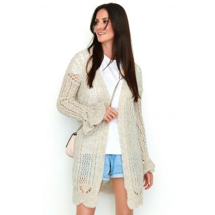 Prolamovaný svetr bez zapínání pletený kardigan