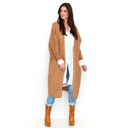 Dlouhý svetr pletený kardigan oversize střih dlouhé rukávy