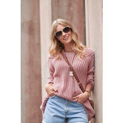 Klasický svetr pletený teplý, měkký a jemný střihu oversize