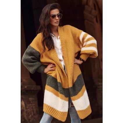 Dámský dlouhý svetr bez zapáníní pruhovaný kardigan vícebarevný