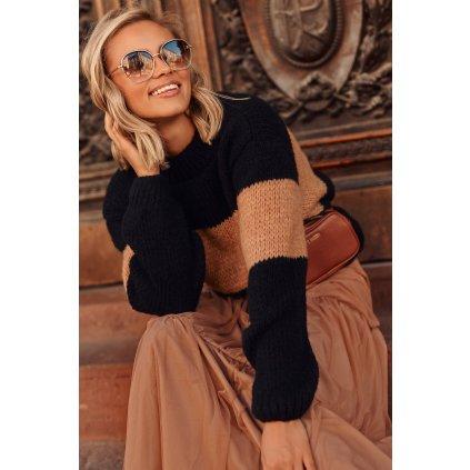 Pruhovaný dámský svetr s manžetami pulovr z vlny vícebarevný
