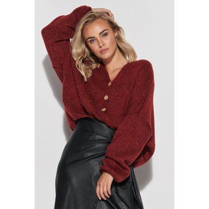 Dámský vlněný svetr pletený kardigan s výstřihem do V s knoflíky