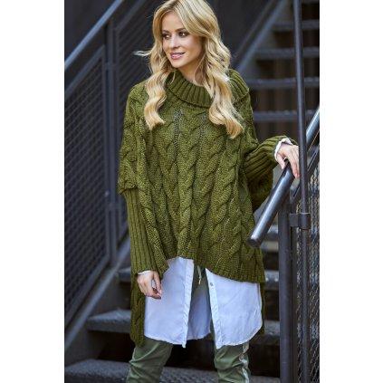 Oversize pletený svetr s pletenou vazbou pončo