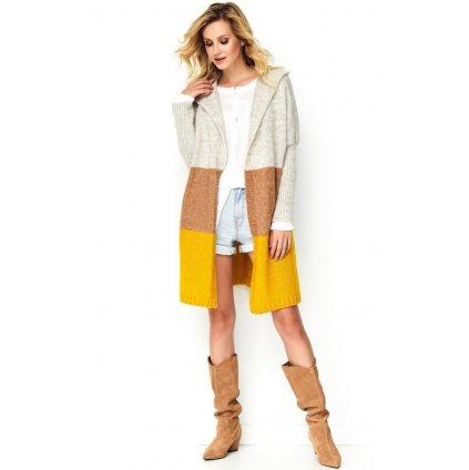 Tříbarevný dlouhý svetr vícebarevný pruhovaný kardigan s kapucí