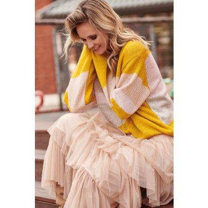 Barevný melanžový svetr vlněný oversize střih dlouhé rukávy
