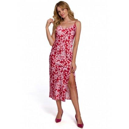 Květované midi šaty se špagetovými ramínky K085
