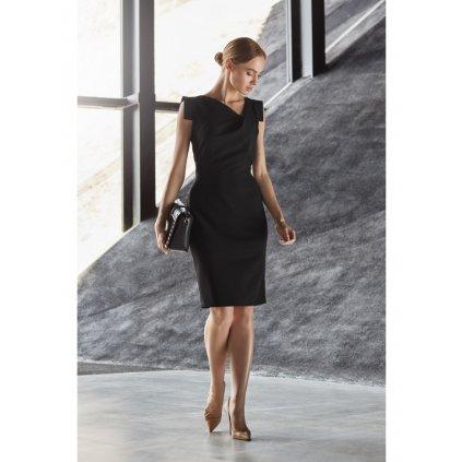 Tužkové šaty s asymetrickým výstřihem STYLE S121