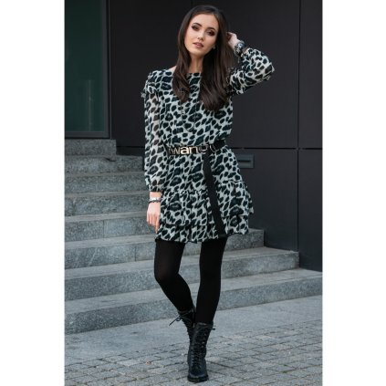 Šifonové mini šaty s módním vzorem