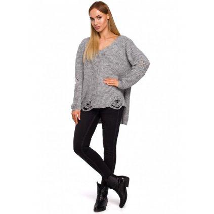 Pletený pulovr dámský svetr s výstřihem MOE M473