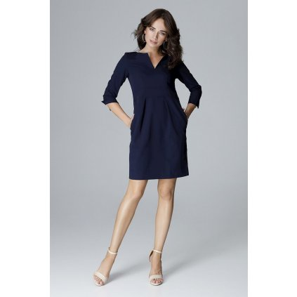 Áčkové šaty s vysokým pasem L004 LENITIF