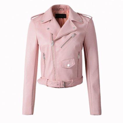 Luxusní dámská bunda z umělé kůže - Růžová FashionEU