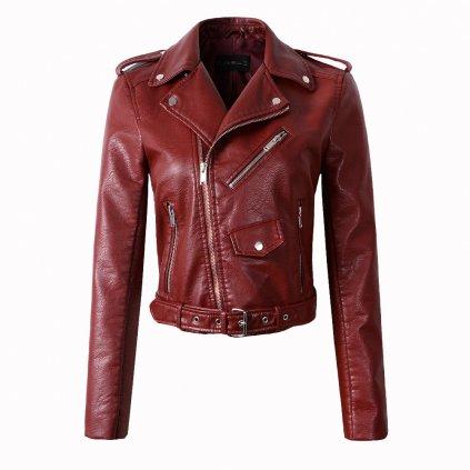 Luxusní dámská bunda z umělé kůže - Červená FashionEU