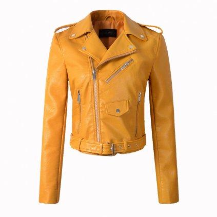 Luxusní dámská bunda z umělé kůže - Žlutá FashionEU