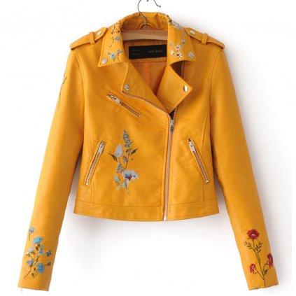 Dámská bunda z umělé kůže s květinovým vzorem - Žlutá FashionEU