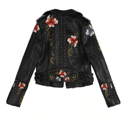 Dámská kožená bunda s květinami FashionEU
