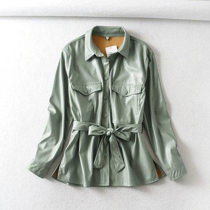 Dámská kožená bunda s vázáním FashionEU