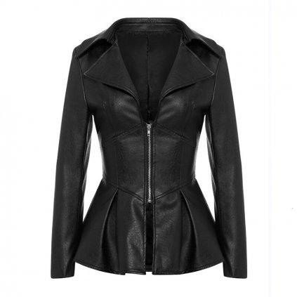 Dámská kožená bunda vypasovaná FashionEU