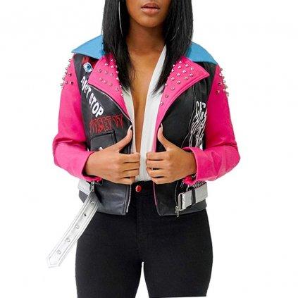 Dámská barevná bunda z umělé kůže FashionEU