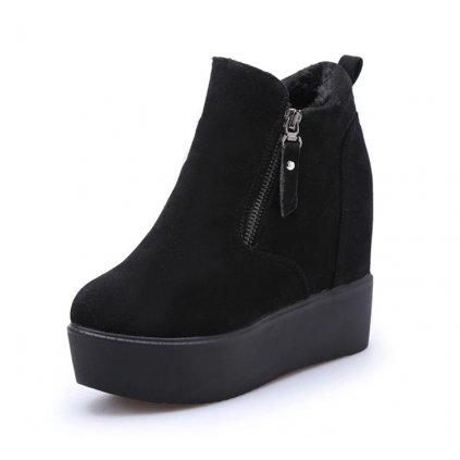 Dámské zimní kotníkové boty na platformě - Černé FashionEU