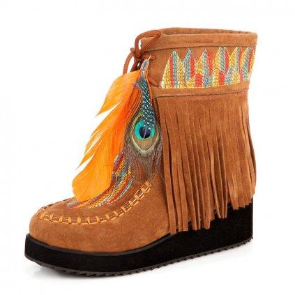 Dámské zimní boty indiánského stylu - 3 barvy FashionEU