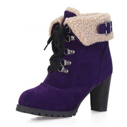 Dámské zimní boty s kožíškem na podpatku - 5 barev FashionEU