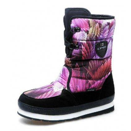 Dámské zimní boty s potiskem listů FashionEU