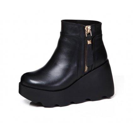 Dámské zimní kotníkové boty na vysoké platformě FashionEU