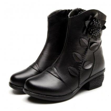 Dámské zimní kotníkové boty s květinou - 3 barvy FashionEU