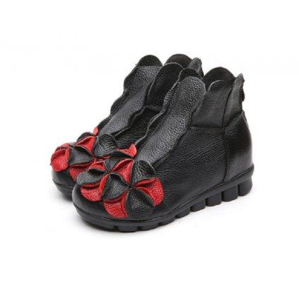 Dámské zimní kožené boty s květinou - 4 barvy FashionEU