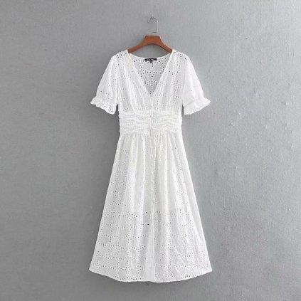 Krajkové bílé šaty FashionEU