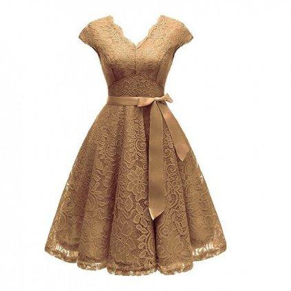 Krajkové šaty s mašlí FashionEU