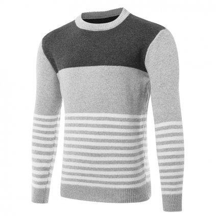 Pánský pruhovaný svetr - 2 barvy FashionEU