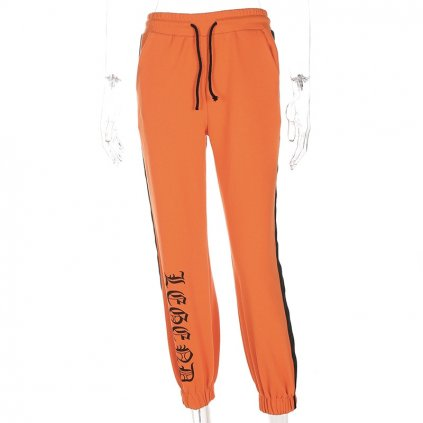 Dámské tepláky s nápisem oranžové FashionEU