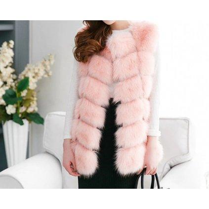 Luxusní dámský kožich - Růžový FashionEU
